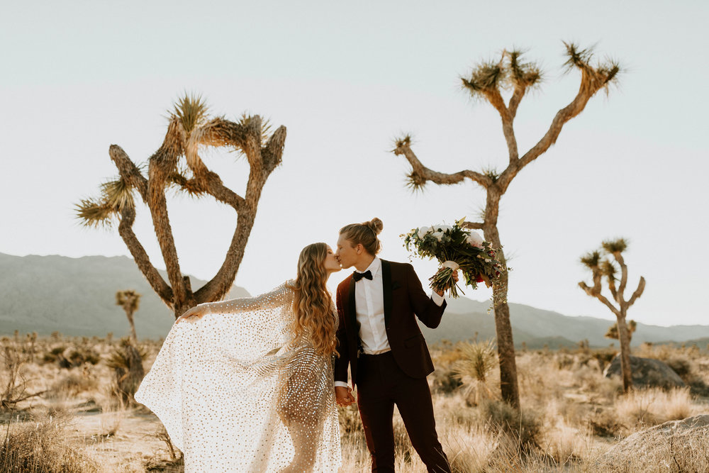 Bride and Groom at NYE Elopement at Joshua Tree National Park in California