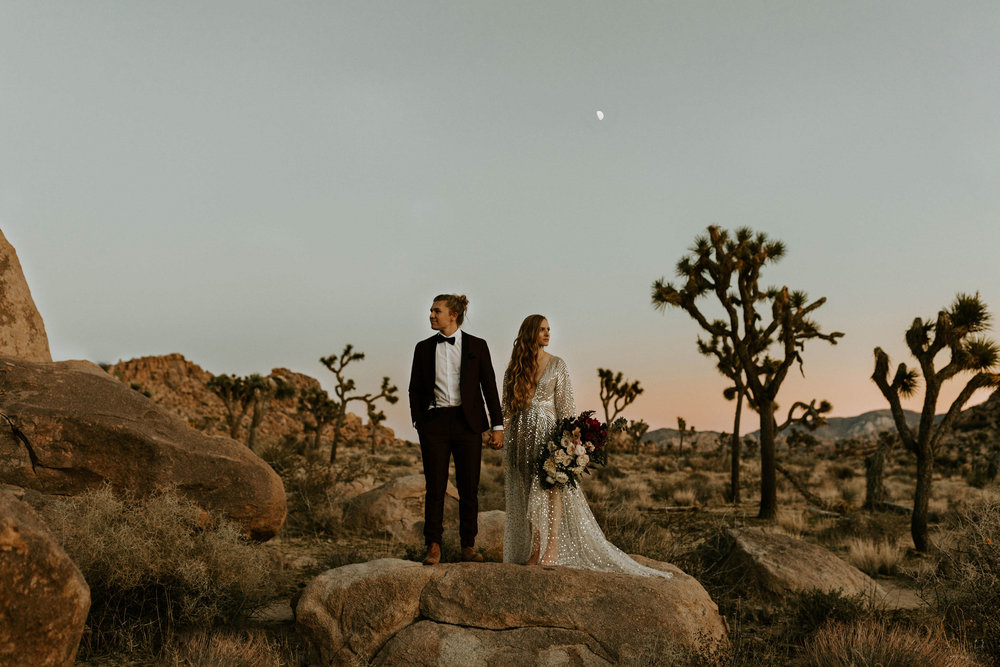 Bride and Groom at NYE Elopement at Sunset in Joshua Tree National Park in California