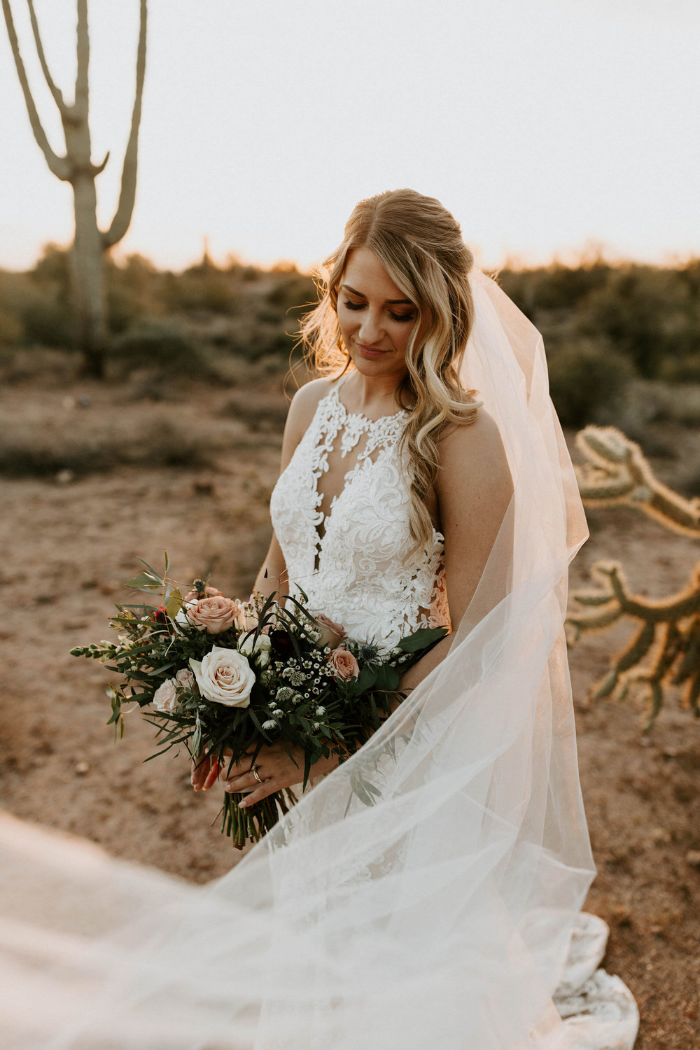Bride and veil in desert at Paseo Wedding venue