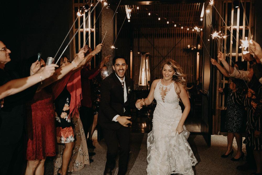 Sparkler exit at the Paseo wedding in Phoenix, Arizona