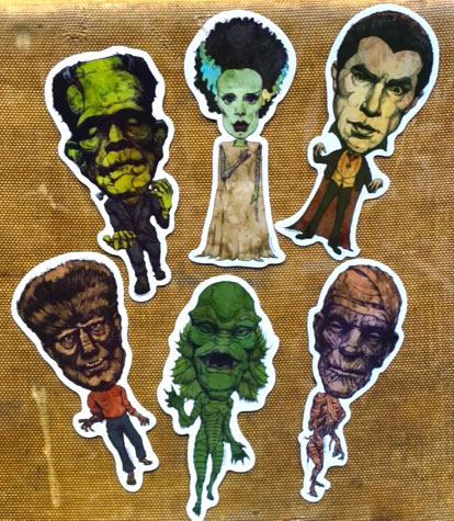 Set of 6 Classic Monster Stickers    $26    Click image to purchase