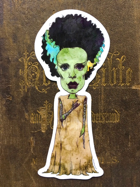 Bride of Frankenstein Vinyl Sticker    $5    Click image to purchase