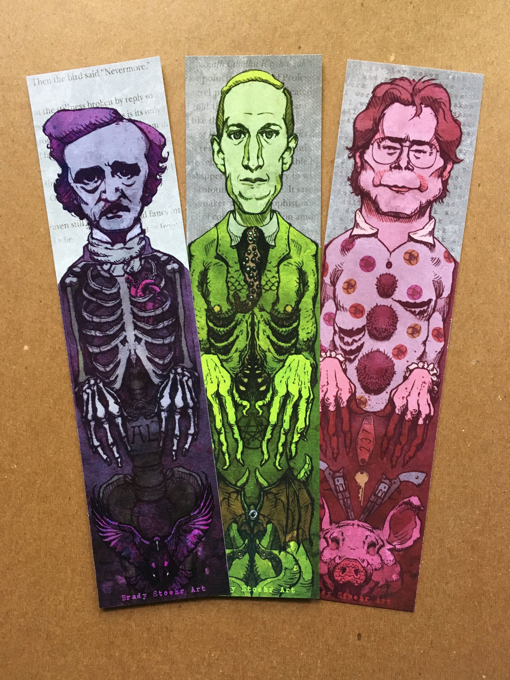 Set of 3 Horror Author Bookmarks    Poe, Lovecraft, & King    Double sided    $6    Click image to purchase