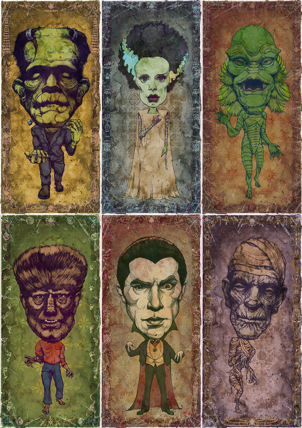 """Set of 6 Classic Monster Art Prints    6 individual 9"""" x 18"""" Prints    Each signed and numbered on archival paper    $116 ($10 Savings!)    Click image to purchase"""