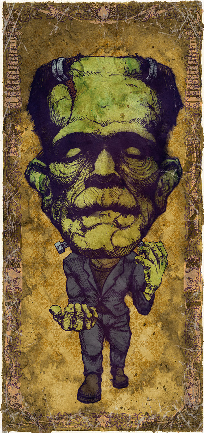 "Frankenstein / Boris Karloff Mini Art Print    4 1/2"" x 9""    Signed and Numbered on Archival Paper    $10.99    Click image to purchase"