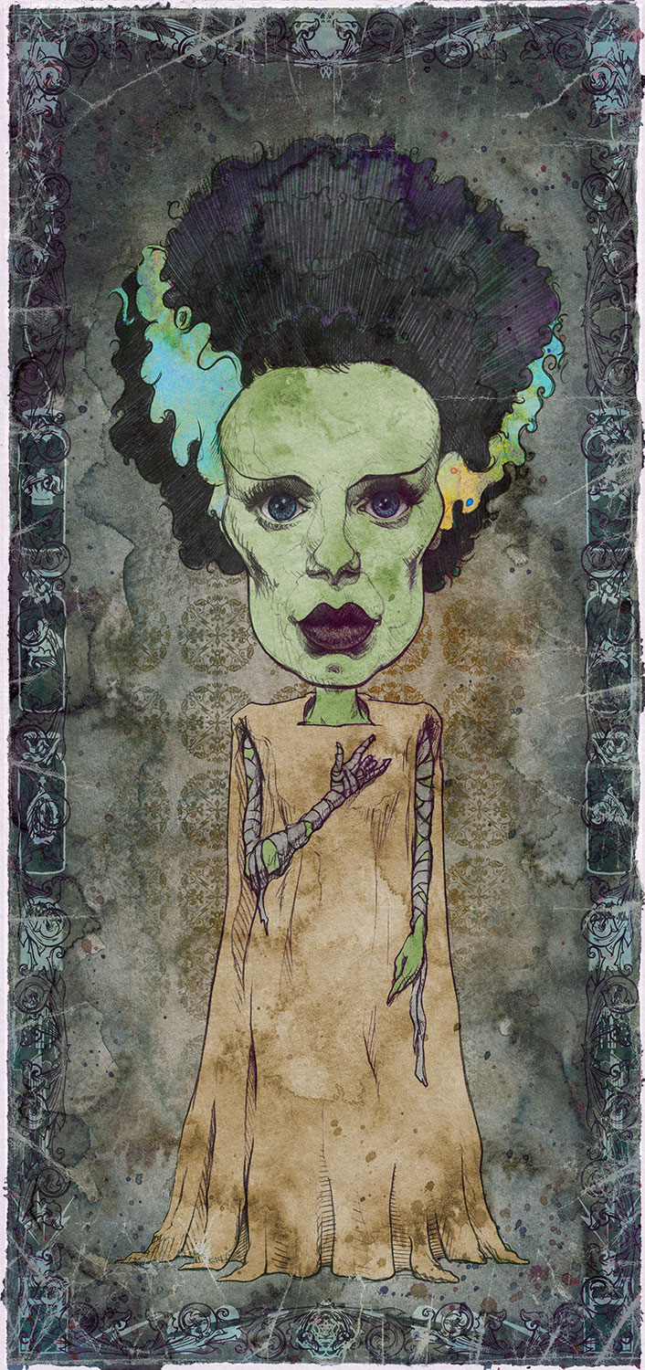 "Bride of Frankenstein / Elsa Lanchester   Mini Art Print    4 1/2"" x 9""    Signed and Numbered on Archival Paper    $10.99    Click image to purchase"
