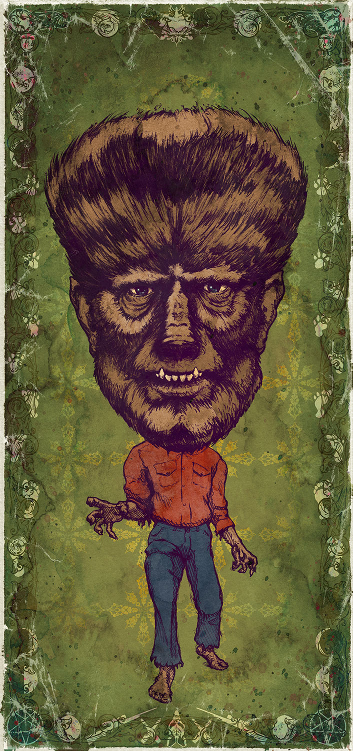 "The Wolfman / Lon Chaney Jr.   Mini Art Print    4 1/2"" x 9""    Signed and Numbered on Archival Paper    $10.99    Click image to purchase"