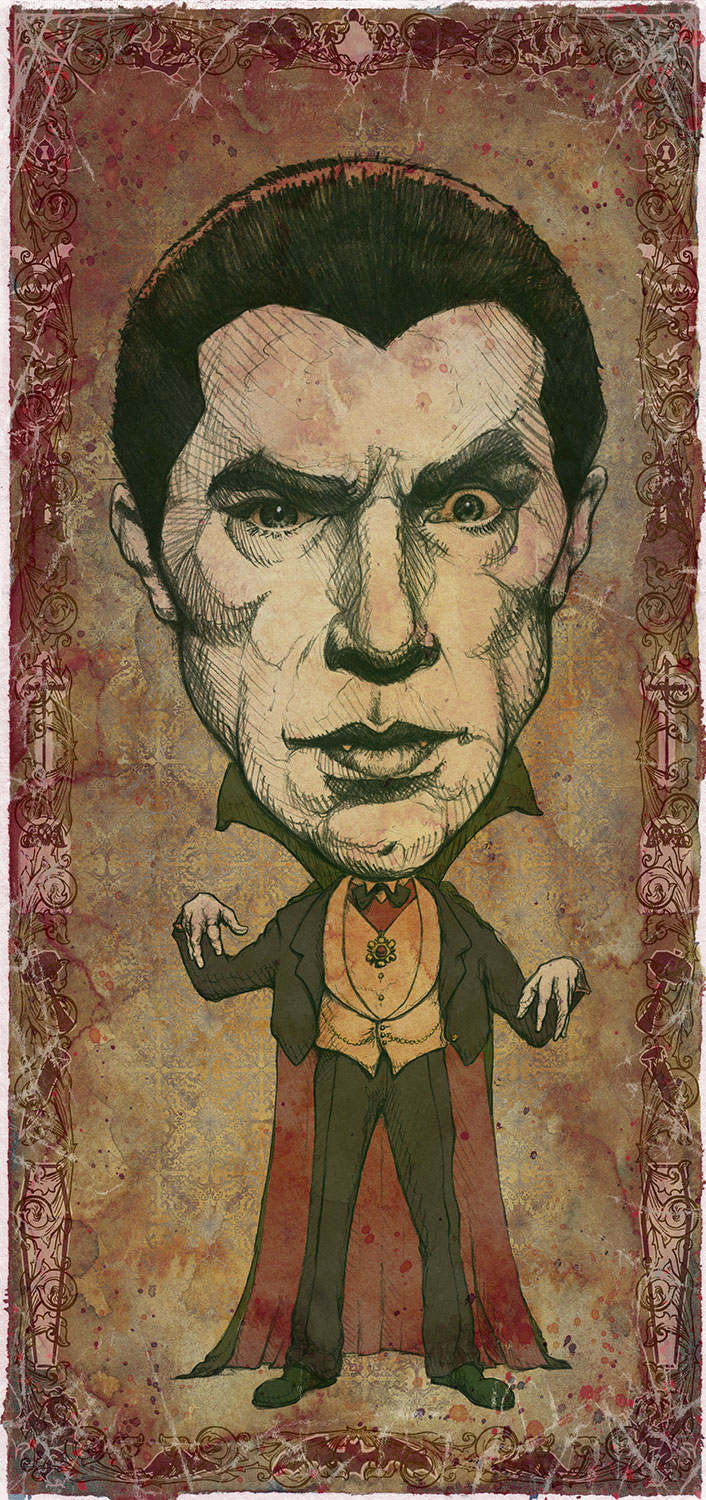 "Dracula / Bela Lugosi   Mini Art Print    4 1/2"" x 9""    Signed and Numbered on Archival Paper    $10.99    Click image to purchase"