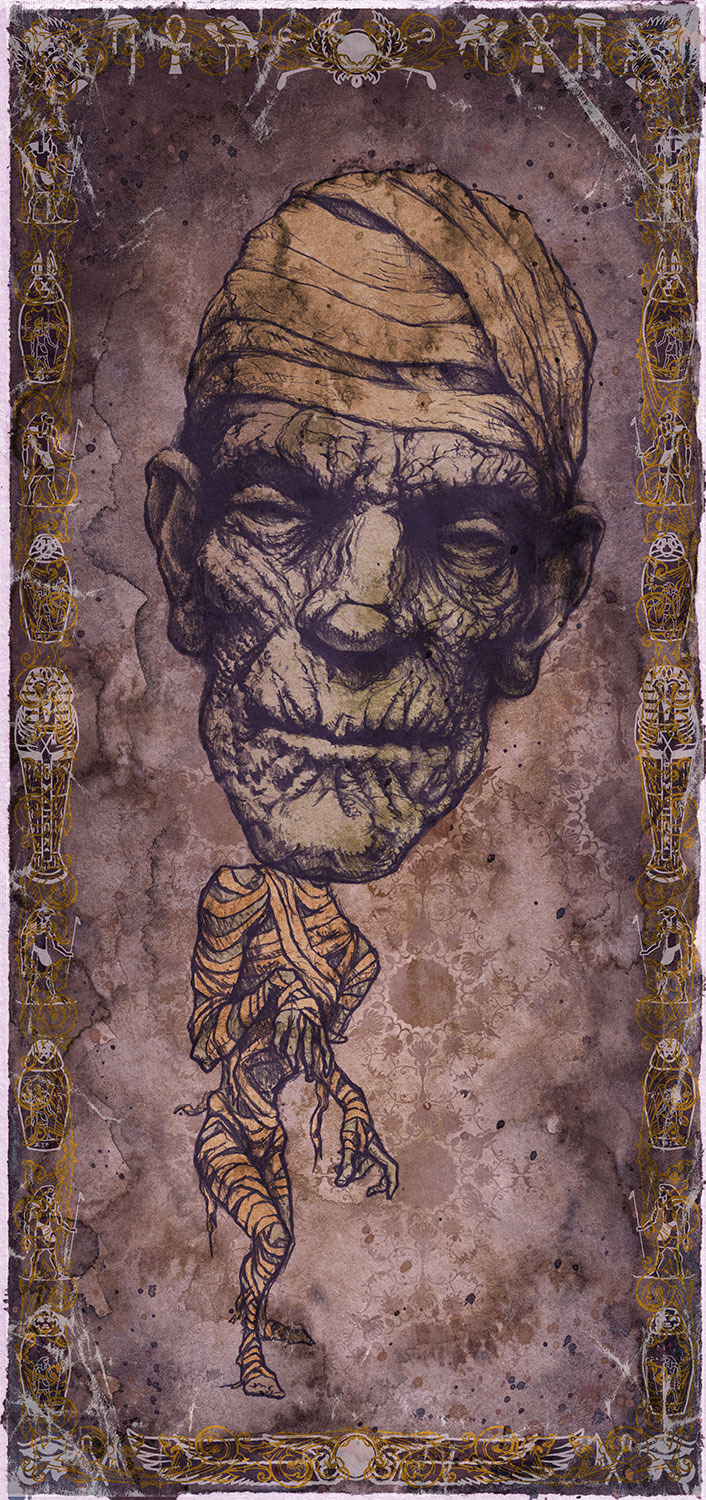 "The Mummy / Boris Karloff   Mini Art Print    4 1/2"" x 9""    Signed and Numbered on Archival Paper    $10.99    Click image to purchase"