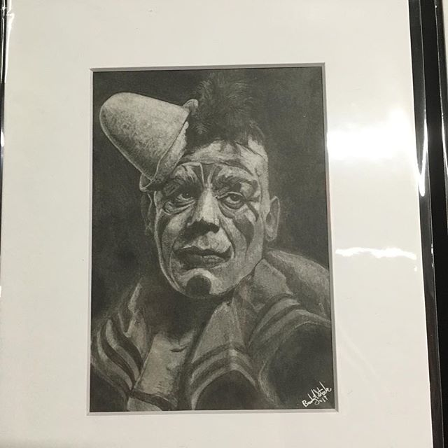 "I am now selling originals! New work will be available every first Friday and only for that month! New work every month! Available in person @noirartandoddities 1101 Mulberry, KCMO 64101 or by DM. New this month Lon Chaney Sr in ""Laugh Clown Laugh. Graphite on Bristol.  #lonchaney #phantomoftheopera #monsters #themonsterartist #bradystoehrart #drawings #drawingart #dailydrawing #drawingoftheday  #illustration #illustrations  #illustrationart #illustrator #illustrationartists #illustrate #illustragram #illustrationoftheday  #originalartwork #artshow #monsterart #weirdart  #lowbrow #creature #characterdesign #characterart  #frankenstein  #horrorart #horror"