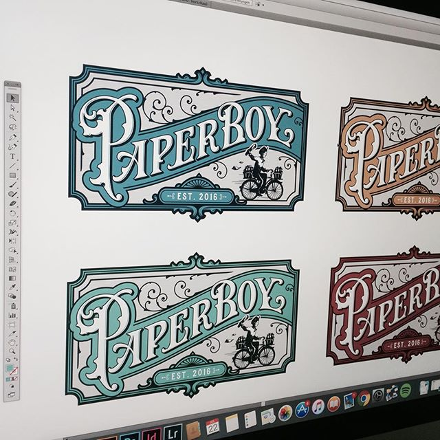 Just found these early color options of the Paperboy logo I created last year! Still one of my favorites 😊🚲