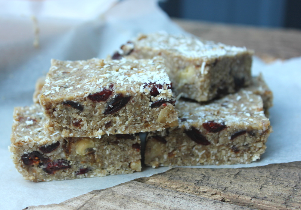 walnut cranberry and coconut slice