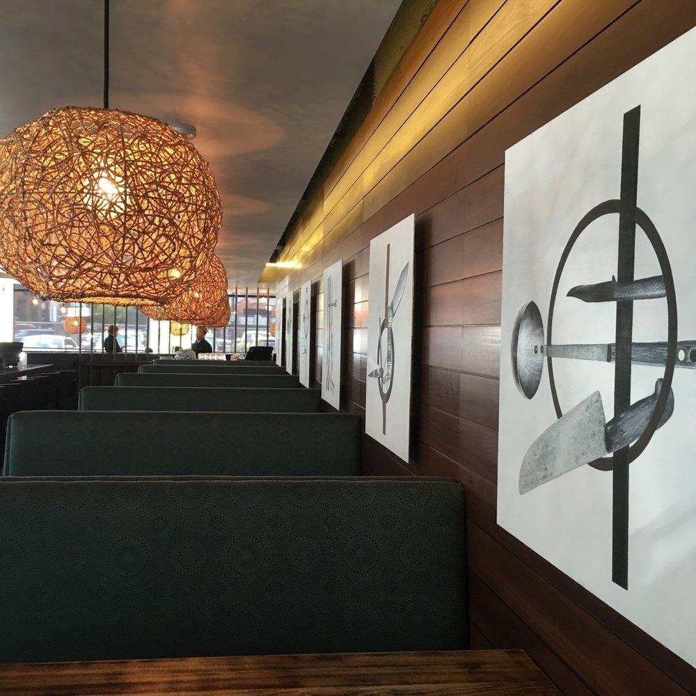 Brand-tailored custom fine art panels for Latigo Restaurant in Denver's Ballpark Neighborhood. - ...
