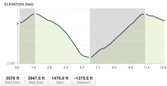 ELEVATION CHART FOR DIRT SECTION OF BOULDER CREEK