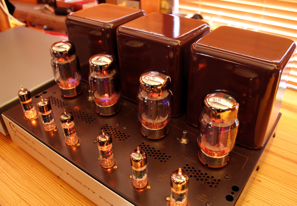 Finished Harman Kardon Citation II with GoldLion KT88s, and ElectroHarmonix input tubes.  Fully restored by GHA.
