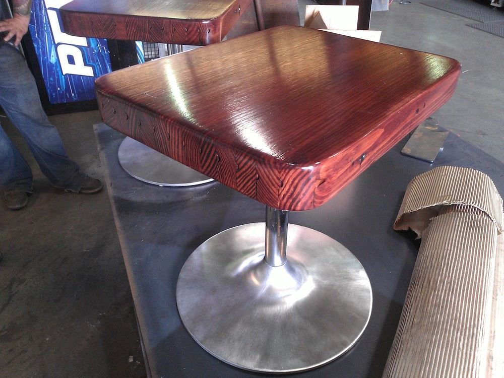 Matching end tables from bowling wood and the salvaged bases from ash trays. Sold.