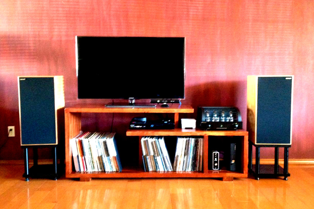 Patrick C System: PrimaLuna Dialogue Premium, Denon DAC, Harbeth, Sonos Connect, Super HL5s, custom Delrin GHA stands, custom GHA table.