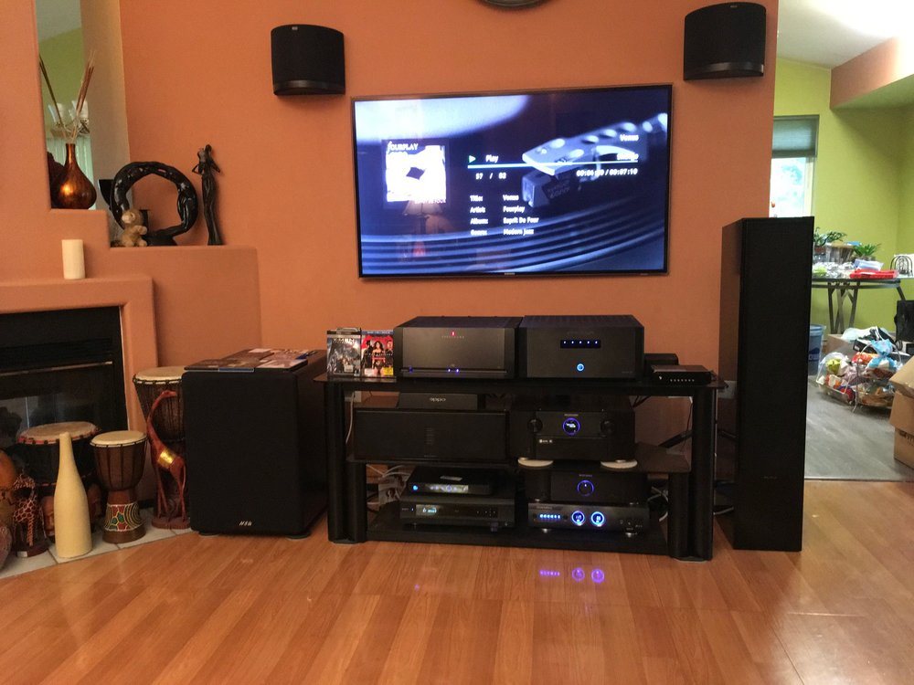 Ed H System : Marantz av8802 f Preamp, Parasound a21, Emotiva XPA-5, Marantz two channel amp, Oppo BDP 105, Panamax power distributor,  Shunyata Research Vernon Power distributor, Shunyata Research Zitron Alpha HC Power cords (2) Shunyata Reseach  Zitron Anaconda speaker cables, Shunyata Venom HC Power cables(3), Shunyata Research Venom 3 Power cables(3), Shunyata Research Zitron Python interconnects, Klipsch Surround speakers (Front and back) Martin Logan ceiling speakers, Audioquest in wall and ceiling 11 gauge speaker speaker cables for surrounds and in ceiling speakers. Wireworld Silver Electra Power cables (2).