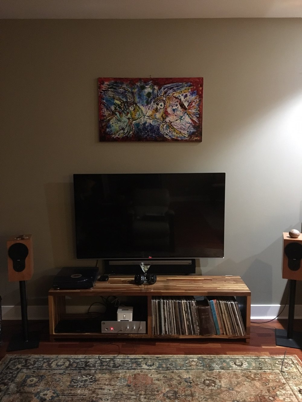 Chris C System: Rogue Audio Sphinx hybrid integrated, turntable, Sonos connect, Rega RX1 speakers on GHA stands, custom GHA mahogany table, AudioQuest Nighthawk headphones.  Radical.
