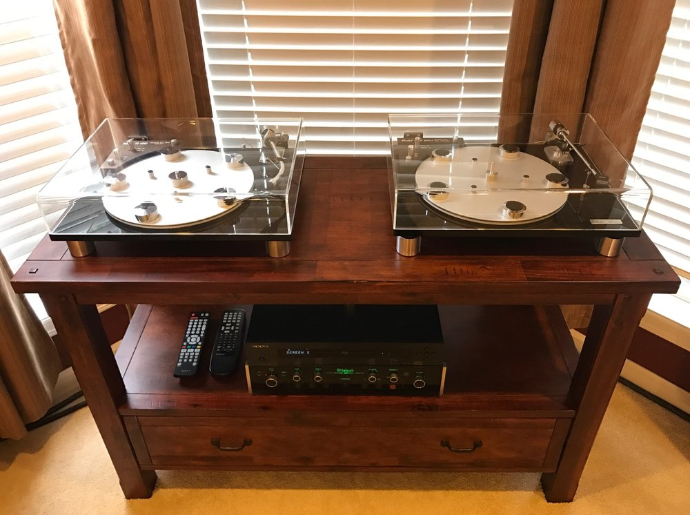 "Troy J System:  Left Audio Linear turntable: SME Type II Improved-R VDH MCD-501, Grado G2+.  Right Audio Linear turntable: Grace 707 w/NOS DIN cable, 1/4"" glass platter, Grado Prestige Gold cartridge.  Playing with: McIntosh 712, Oppo 103, McIntosh MC7200, Monster Signature HTPS 7000, Shunyata Antares (Bal) IC, MIT 3 Bi-wired, and Vandersteen 2CI speakers.  Wow."