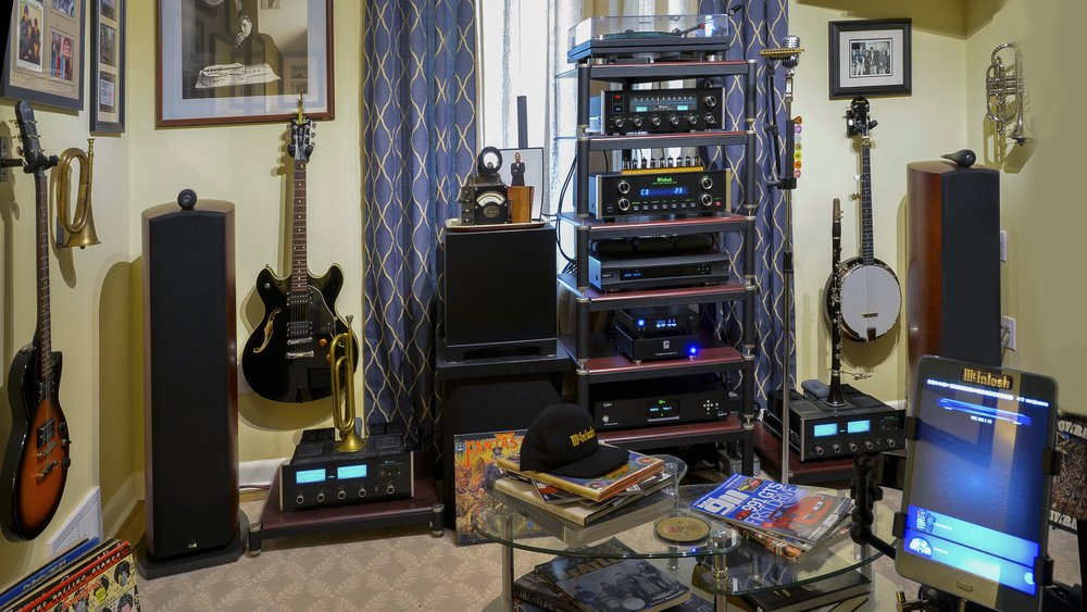 "Richard T System: McIntosh MC2155 Bi Amp, Lyngdrof Room Perfect Processor, Mytec Brooklyn DAC W/ External Kecer Dc116 power supply, OPPO 95 player w/ power mods, McIntosh C220 W/ telefunken plate Ecc822 smooth plate tubes, McIntosh MR78 FM Tuner, MusicHall MMf5 w/ Denon ""RED"" Stylus,  Martin Logan Power Sub Woofer W/ Sub Trap, B&W 803D Speakers, Magic Audio Bi-Wire Speaker wire system and Richard Gray Power Supply."