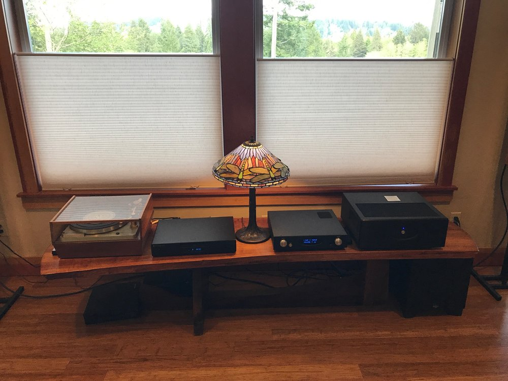 Jim H. System: Rogue Stereo 100 Amp, Rogue RP-1 Pre-Amp, Empire Turntable, Cambridge Audio CD Player, Vienna Acoustics Speakers, Klipsh Subwoofer.