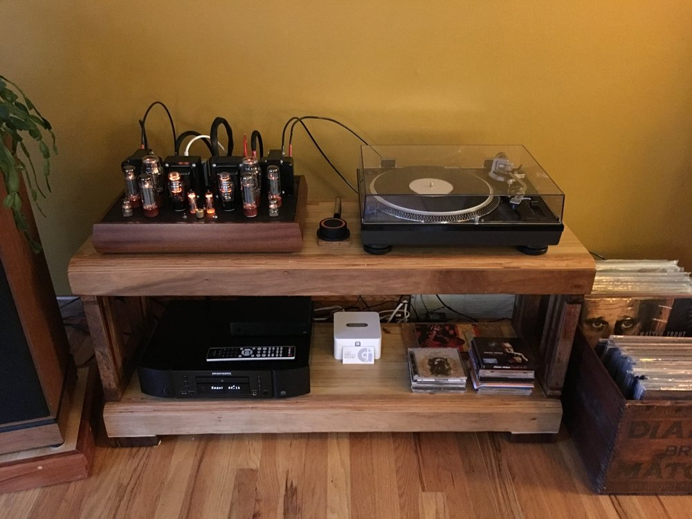 Decware Torii MKIV (25 wpc. EL34 tubes), AT 120/Ortofon Blue, Marantz CD, SonosConnect, Klipsch speakers, custom GHA wood table!  Wow, that is a nice amp.