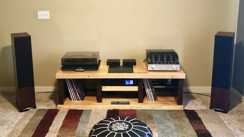 Rob T System: PrimaLuna HP integrated, Rega P6, PS Audio Streaming DAC, Spendor D7 speakers, GHA custom table. YES!