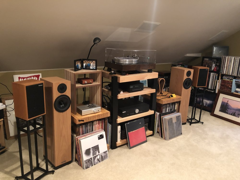 "Adam S system: Spendor A7s, Falcon LS3/5a, GHA 24"" stands, GHA custom wood LP holders, VPI turntable, AMG Teatro LOMC cartridge, Musical Fidelity phono stage, Musical Fidelity integrated amp,"