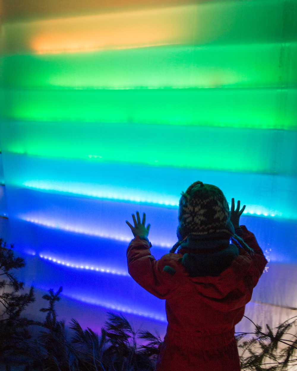 Interact with Northern Lights at the Aurora Shanty! This solar-powered shanty adds much color to the white world of White Bear Lake