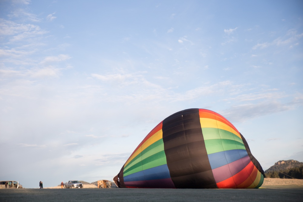 Inflating the balloon. A rainbow! What luck!