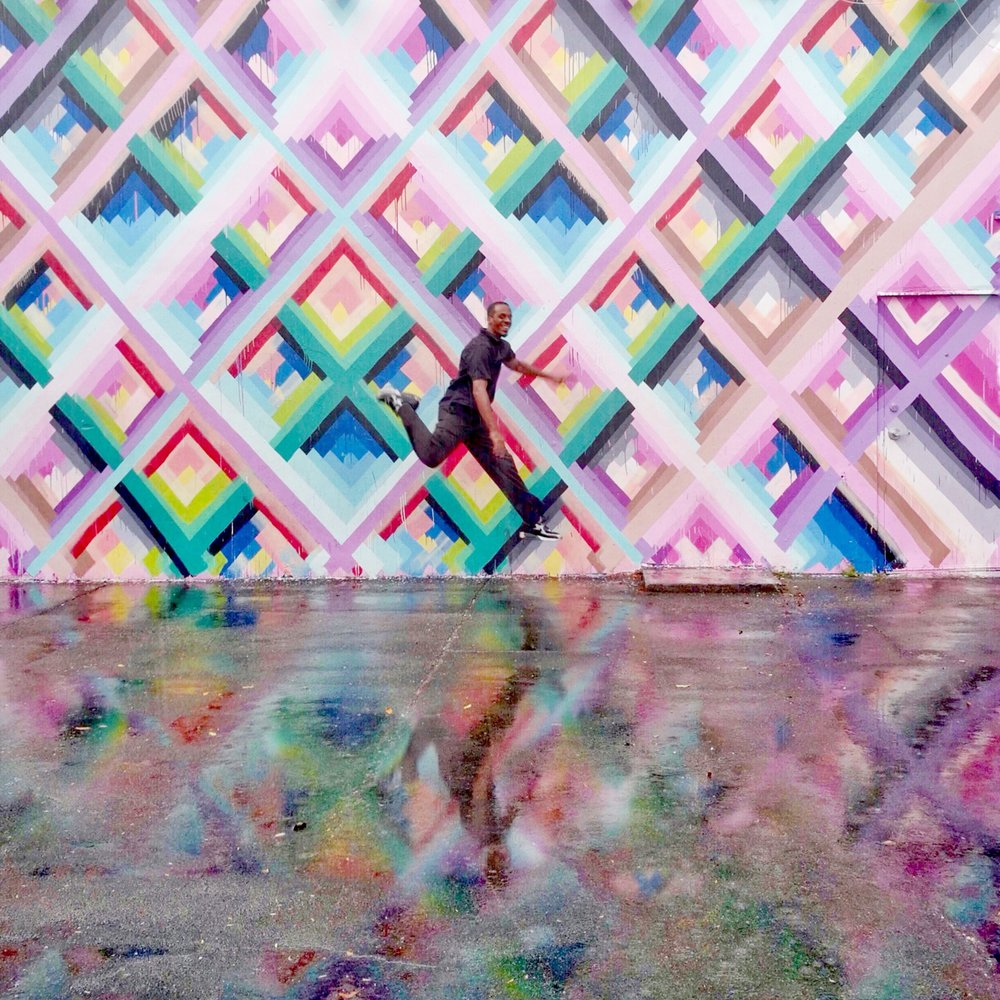I caught a photo of our driver using Burst Mode at the Wynwood Walls area. He was awesome. We drove all around Miami in a fancy golf-cart-like car with Swoop!
