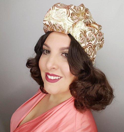 The House of Hats Biba Gold Metallic Turban Vintage sydney Millinery sydney  .jpg 0c0cf01cb70