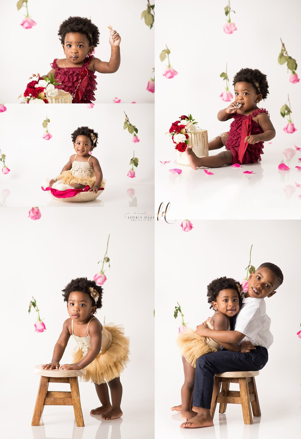 baby girl floral cake smash nj cake smash photographer lovely daze photography kenilworth nj