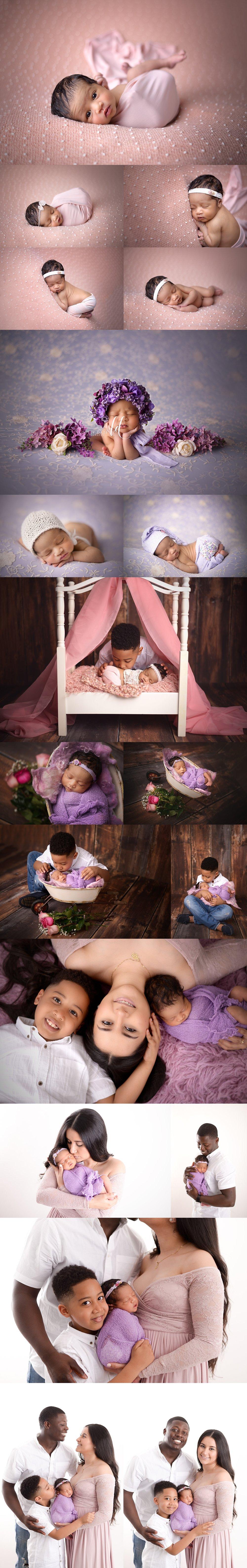 nj newborn photographer baby girl pink purple flowers