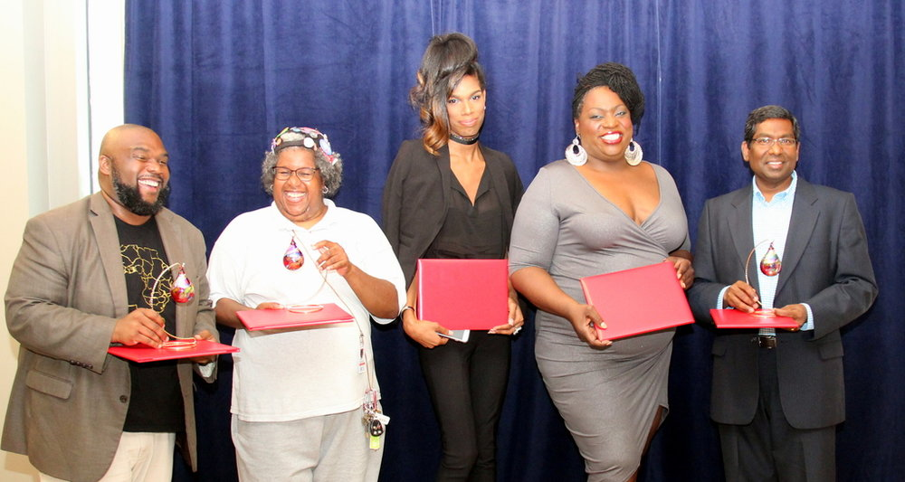 2017 Barbara Vick Impact Award Winners (From L to R) Johnnie Ray Kornegay III, Mona Bennett, Jennifer Barnes, Tori Cooper and Rama Amara (Images courtesy of Emory University)