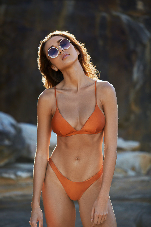 I AM ZAZIE Harper Bikini Top Yvie Cheeky Pant Whiskey Swimwear
