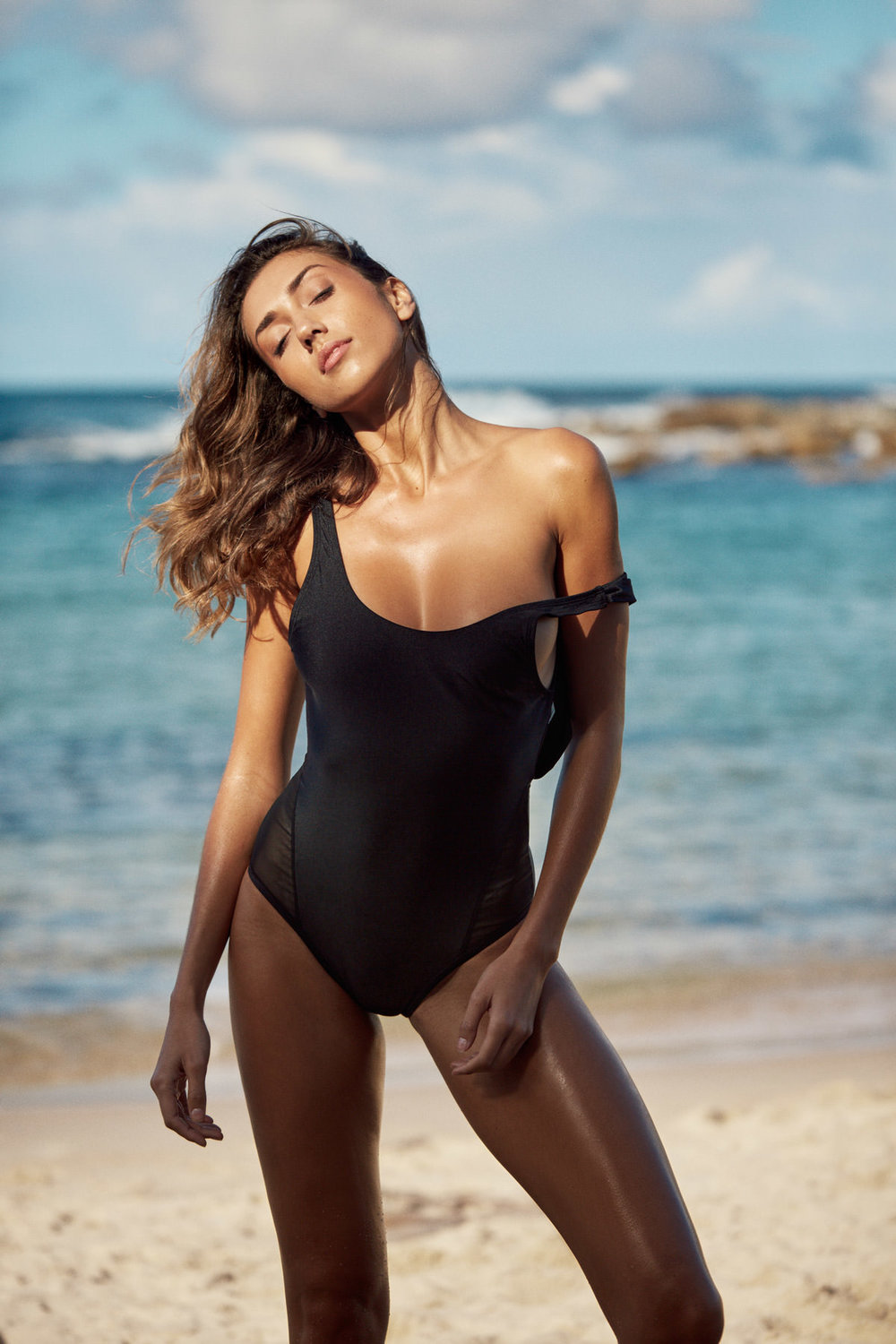 Shannon Lawson wears Myla Contour One Piece Swimsuit in Espresso - SHOP HERE →