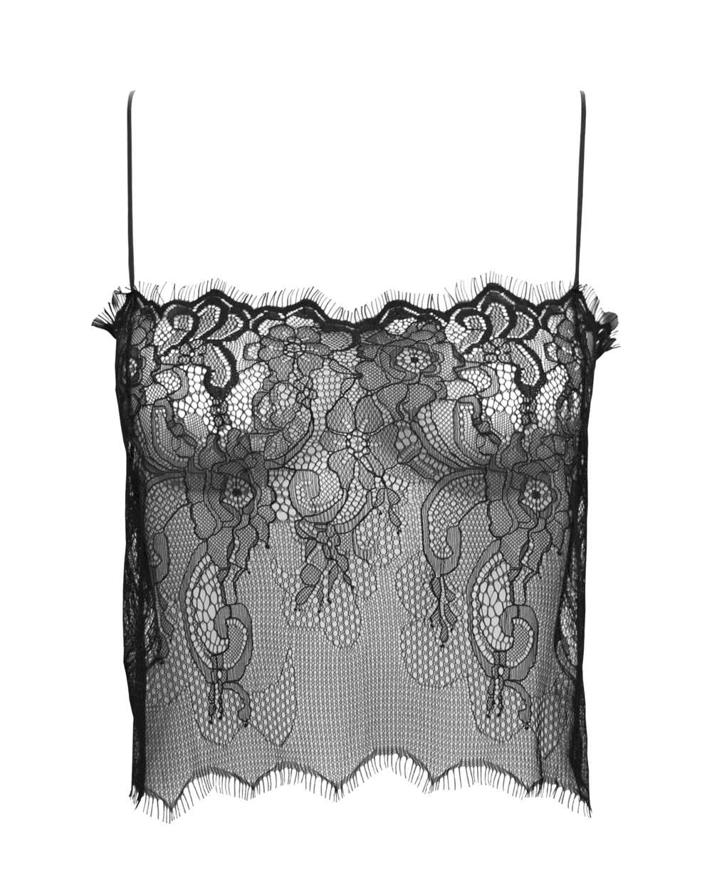 I AM ZAZIE Aurora Chantilly Lace Top black front