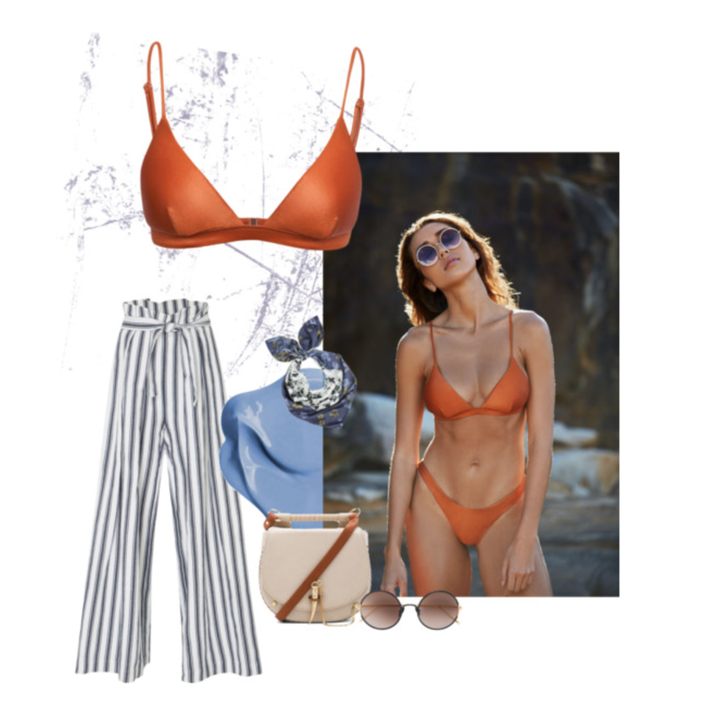 SHOP > Our 'Harper' Luxe Triangle Top Bikini and 'Yvie' Cheeky Bikini Bottomin Whiskey. Styled here with Sunday Somewhere Yetti Sunglasses, Sancia Babylon Bag, Silk Scarf and Three Graces Striped Linen Pants. For more follow us on Polyvore!
