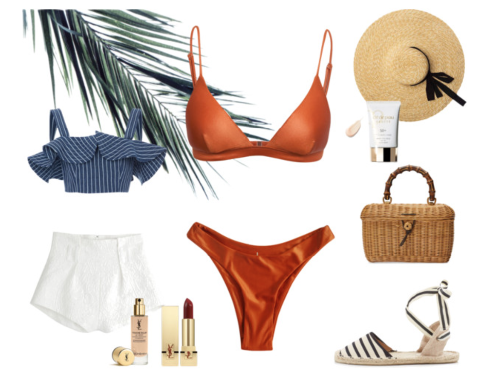 SHOP THE LOOK >   Our  'Harper' Luxe Triangle Bikini Top  and  'Yvie' Luxe Cheeky Bikini Bottom  in Whiskey Italian Lycra with Rose-Gold metal hardware. Espadrilles by  Soludos , Crop Top by  Alexis Benta  at Revolve, Straw Hat by Genuine People.