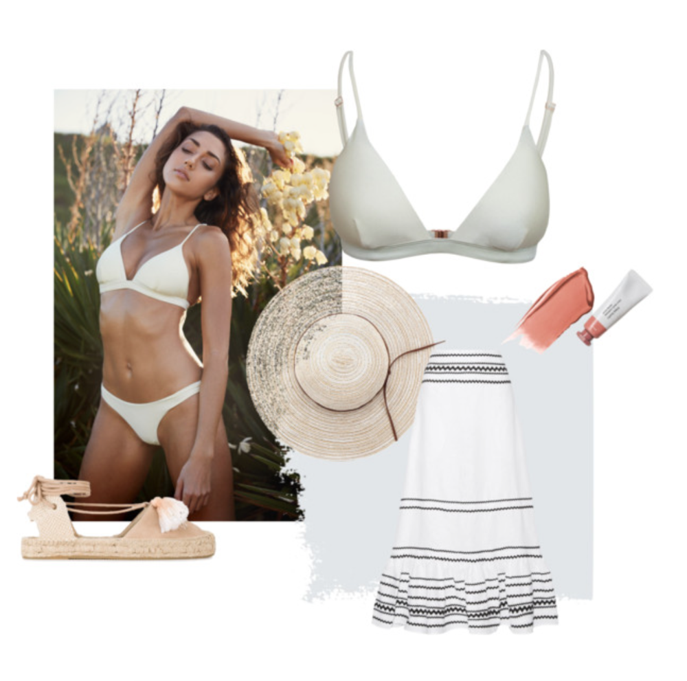 SHOP THE LOOK >   Our  'Harper' Triangle Bikini Top  and  'Yvie' Cheeky Bikini Bottom  in Coconut. Espadrilles by  Soludos , Straw Hat by Yoins, Skincare and Make-Up by  Glossier .