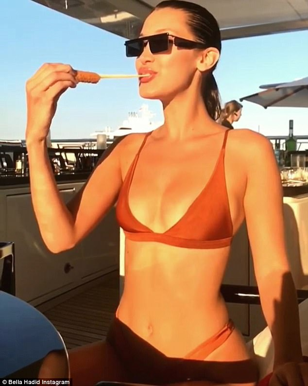Bella Hadid bikini I Am Zazie Swimwear Harper Bikini Orange Whiskey