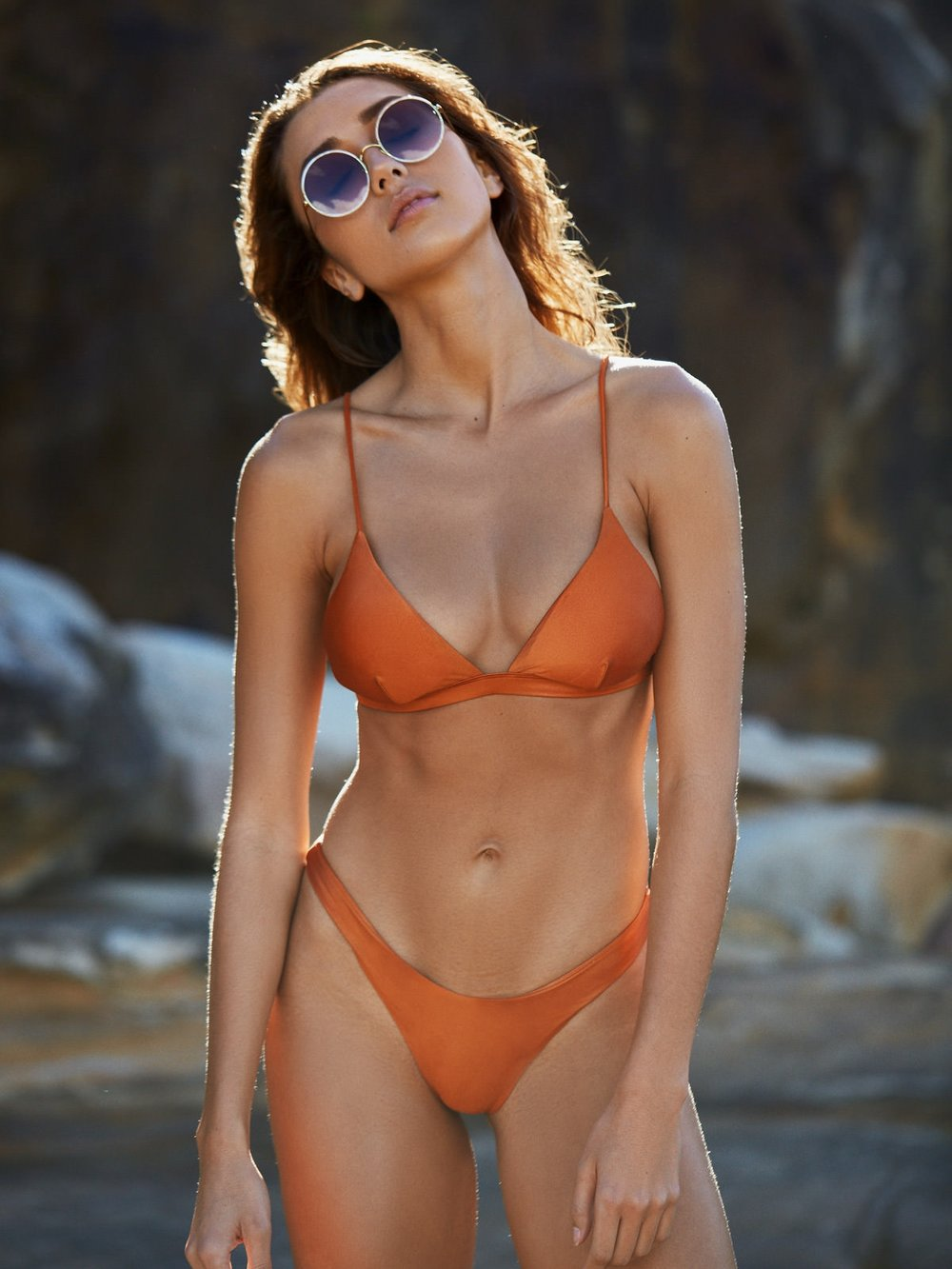 I Am Zazie Swimwear Harper Triangle Bikini Top Orange Whiskey Bella Hadid