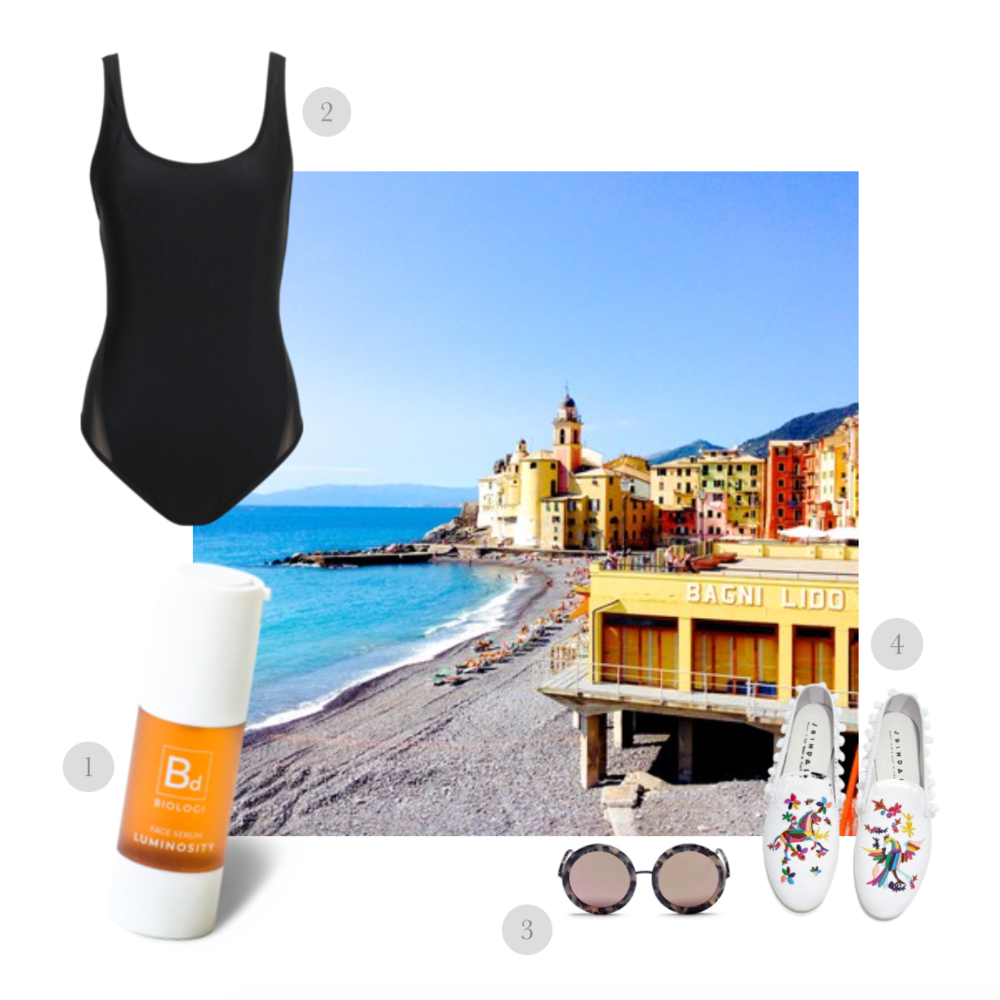THE ITALIAN VACATION GETAWAY - 1.  Bd Luminosity Face Serum 100% Davidson Plum  by  Biologi  2.  Myla Contour Black One Piece Swimsuit  in Espresso by  I Am Zazie Swimwear  3.  Isabella Sunglasses  by  Sunday Somewhere  4. Rainbow Embroidery Flats by Joshua Sanders