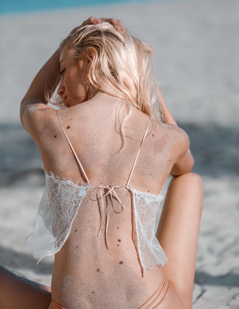 I Am Zazie Swimwear White Aurora Chantilly Lace Crop Sheer Top Apres-Beach Apres-Swim Backless