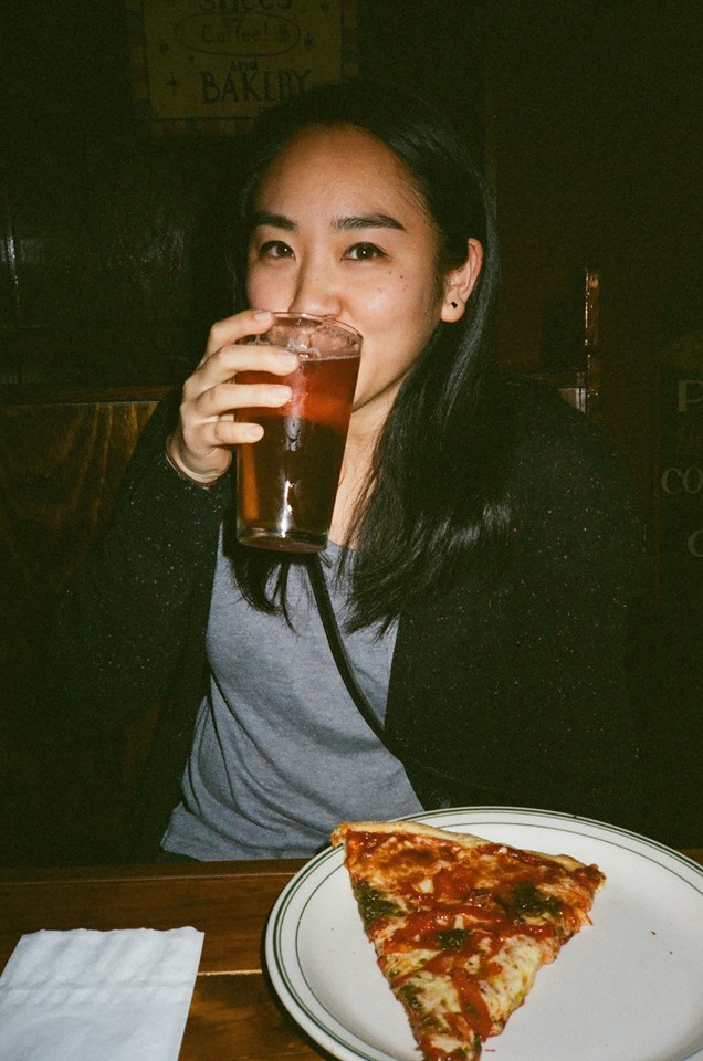 Beer & pizza at World Pizza! Photo by Heather Wyttenbach