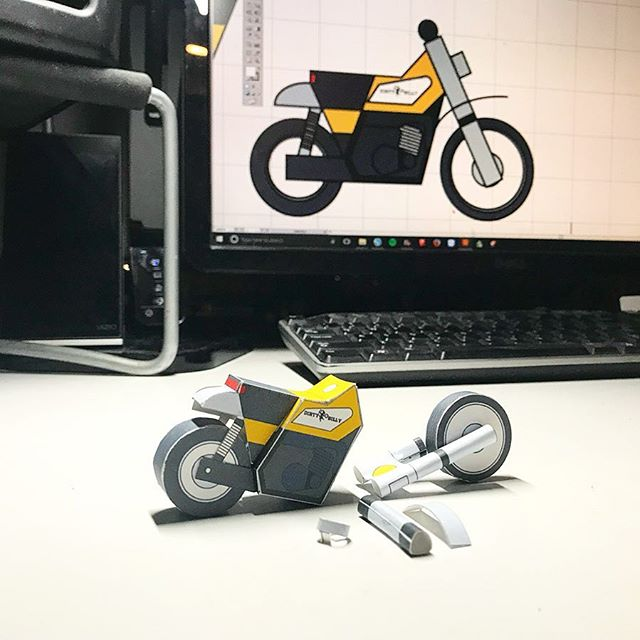 get cozy and build a @dirtybilly_bk Yamaha DT400 paperbike model - this and many other papercraft model kits at paperbikes.com