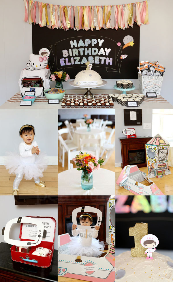 """I Love You to the Moon and Back"" First Birthday Space-Themed Party Dessert Display Table and Backdrop. Photo Credit:  Morgan Bayard Photography"