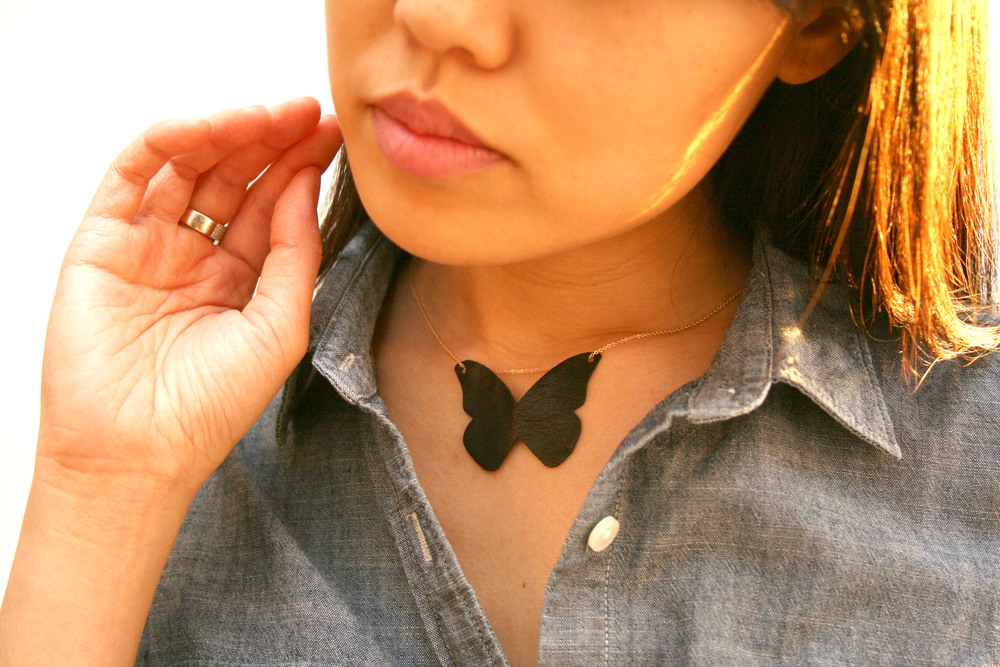 Delicate Leather Butterfly Pendant Necklace